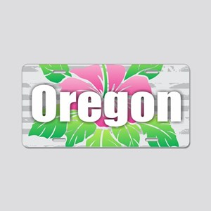 Oregon Hibiscus Aluminum License Plate