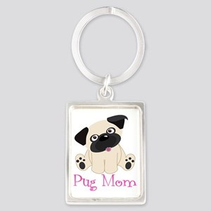 Pug Mom  Portrait Keychain