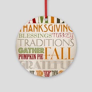 Happy Thanksgiving Subway Art Round Ornament