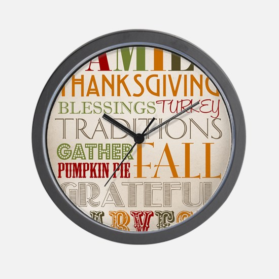 Happy Thanksgiving Subway Art Wall Clock