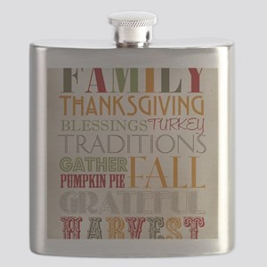 Happy Thanksgiving Subway Art Flask