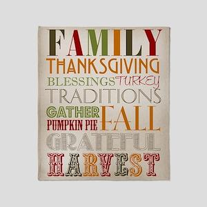 Happy Thanksgiving Subway Art Throw Blanket
