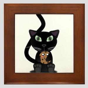 Cat Holding Cookie Framed Tile