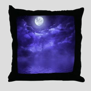 Clouds-Purple-Midnight-Moon-2 Throw Pillow