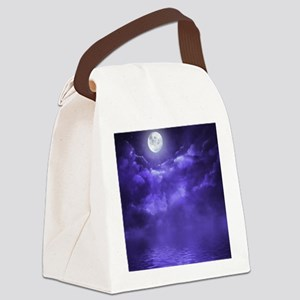 Clouds-Purple-Midnight-Moon-2 Canvas Lunch Bag