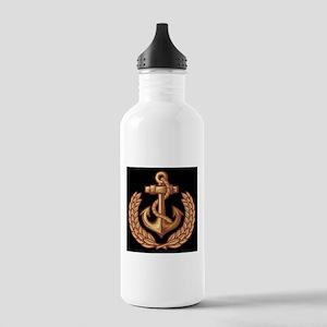 Black and Orange Anchor Water Bottle