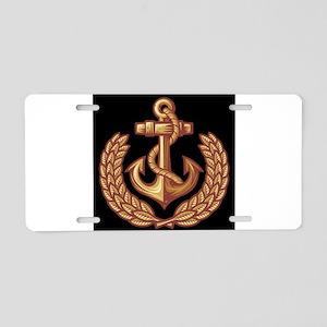 Black and Orange Anchor Aluminum License Plate