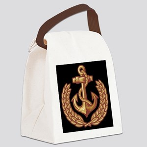 Black and Orange Anchor Canvas Lunch Bag