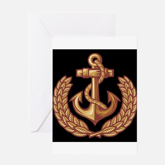 Black and Orange Anchor Greeting Cards