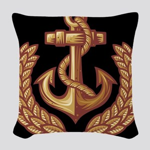 Black and Orange Anchor Woven Throw Pillow
