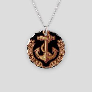 Black and Orange Anchor Necklace