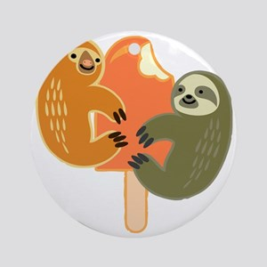 Slothsicle Round Ornament