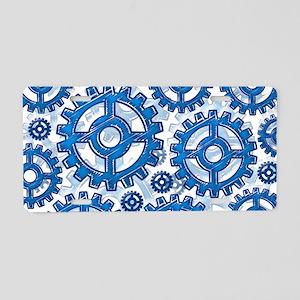 Blue gear wheels Aluminum License Plate