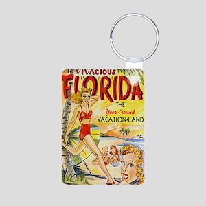Vintage Florida Vacation L Aluminum Photo Keychain