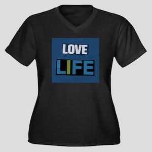 Love Life (blue) Women's Plus Size V-Neck Dark T-S