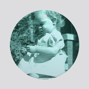 photo sitting and thinking Round Ornament