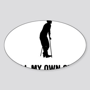 On-Crutches-03-A Sticker (Oval)