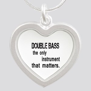 Double Bass the only instrum Silver Heart Necklace