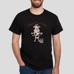 Happy 4th of July Cow 1 Dark T-Shirt