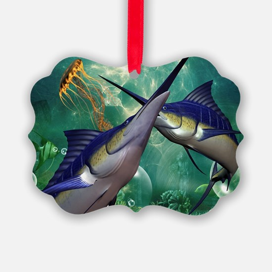 Awesome marlin with jellyfish Ornament