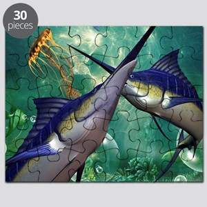 Awesome marlin with jellyfish Puzzle