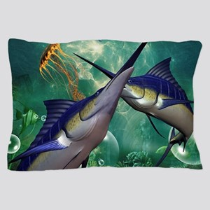 Awesome marlin with jellyfish Pillow Case