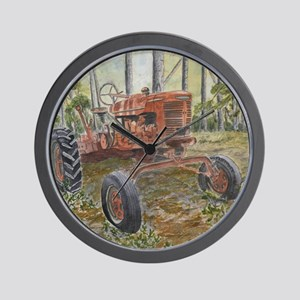 old farm tractor antique Wall Clock
