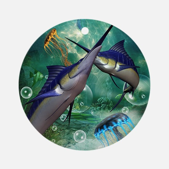 Awesome marlin with jellyfish Round Ornament