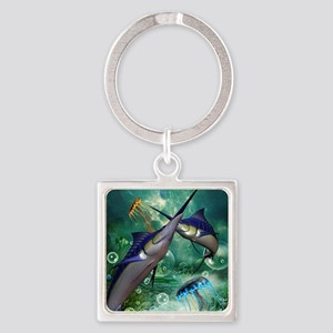 Awesome marlin with jellyfish Keychains