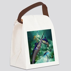 Awesome marlin with jellyfish Canvas Lunch Bag