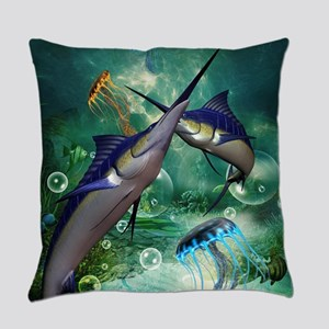 Awesome marlin with jellyfish Everyday Pillow