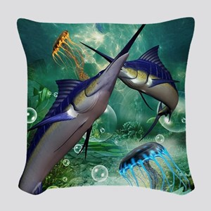 Awesome marlin with jellyfish Woven Throw Pillow