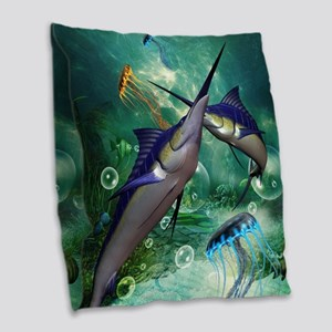 Awesome marlin with jellyfish Burlap Throw Pillow