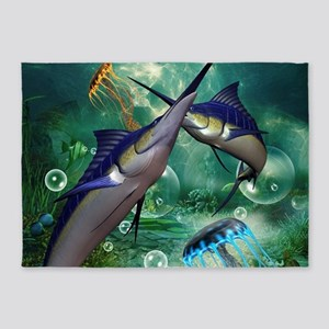 Awesome marlin with jellyfish 5'x7'Area Rug