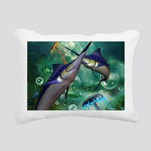 Awesome marlin with jellyfish Rectangular Canvas P