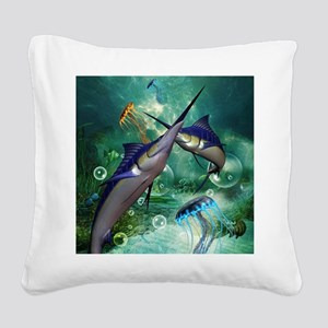 Awesome marlin with jellyfish Square Canvas Pillow