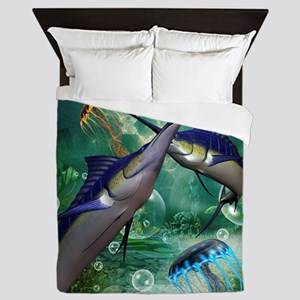 Awesome marlin with jellyfish Queen Duvet