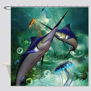 Awesome marlin with jellyfish Shower Curtain