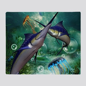 Awesome marlin with jellyfish Throw Blanket