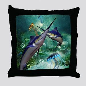 Awesome marlin with jellyfish Throw Pillow