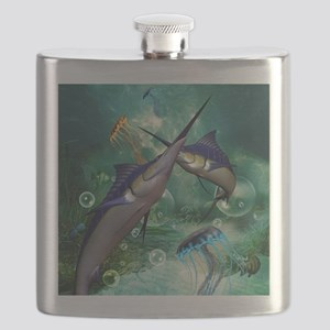 Awesome marlin with jellyfish Flask