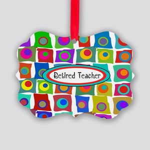 Retired TEacher funky squares 2 Picture Ornament