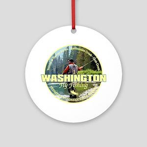 Washington Fly Fishing Round Ornament