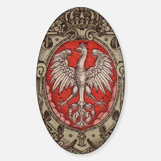 Polish Eagle 1917 1/2 Mark  Sticker (Oval)
