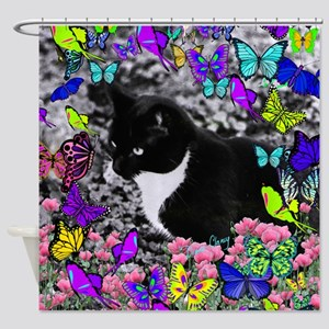 Freckles the Tux Cat in Butterflies Shower Curtain