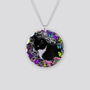 Freckles the Tux Cat in Butt Necklace Circle Charm