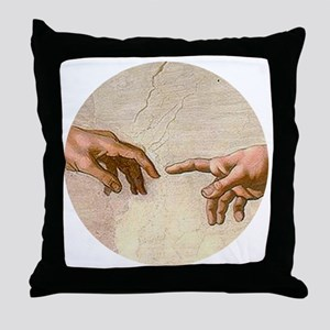 Michelangelo Creation of Adam Throw Pillow
