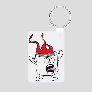 Flaming Marshmallow Aluminum Photo Keychain