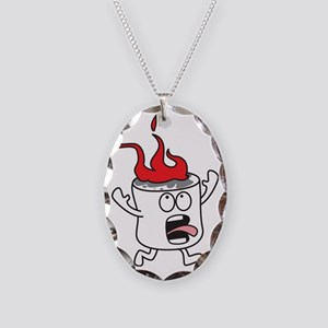 Flaming Marshmallow Necklace Oval Charm