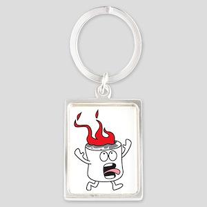 Flaming Marshmallow Portrait Keychain